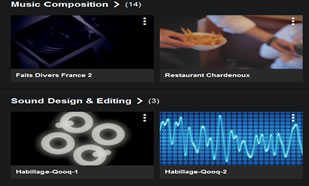our work: voice over, dubbing, sound design, music composition samples