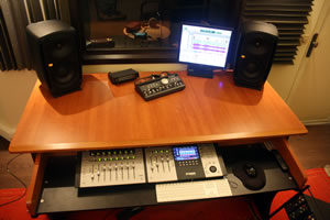 studio vocal booth and speaker
